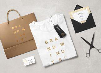 Free-Branding-Mockup-Scene-T-Shirt,-Envelop,-Business-Card-&-Shopping-Bag-2