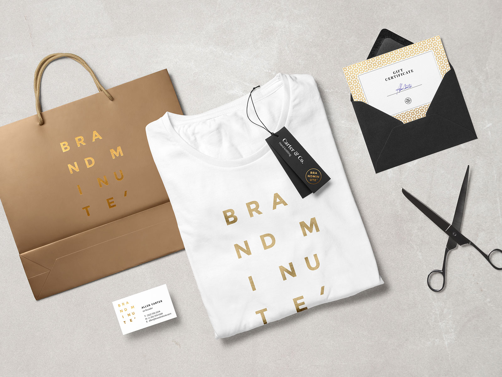 Free-Branding-Mockup-Scene-T-Shirt,-Envelop,-Business-Card-&-Shopping-Bag