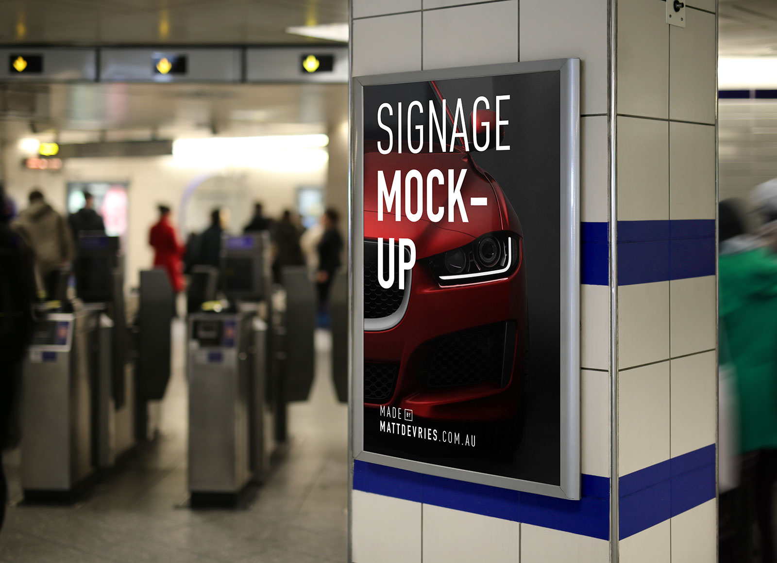 Free Indoor Advertising Poster Signage Mockup PSD - Good ...