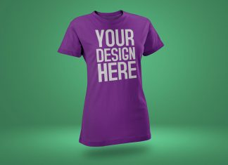 Free-Rounded-Neck-Short-Sleeves-T-Shirt-Mockup-PSD