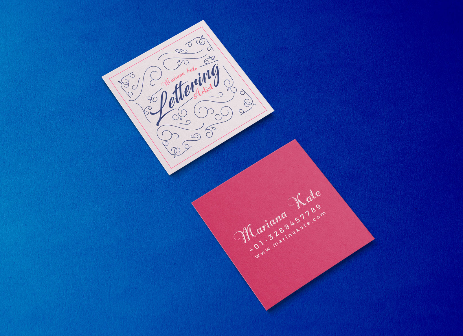 Free Front & Back Square Business Card Mockup PSD - Good Mockups