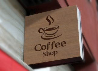 Free-Wall-Mounted-Coffee-Shop-Sign-Board-Mockup-PSD
