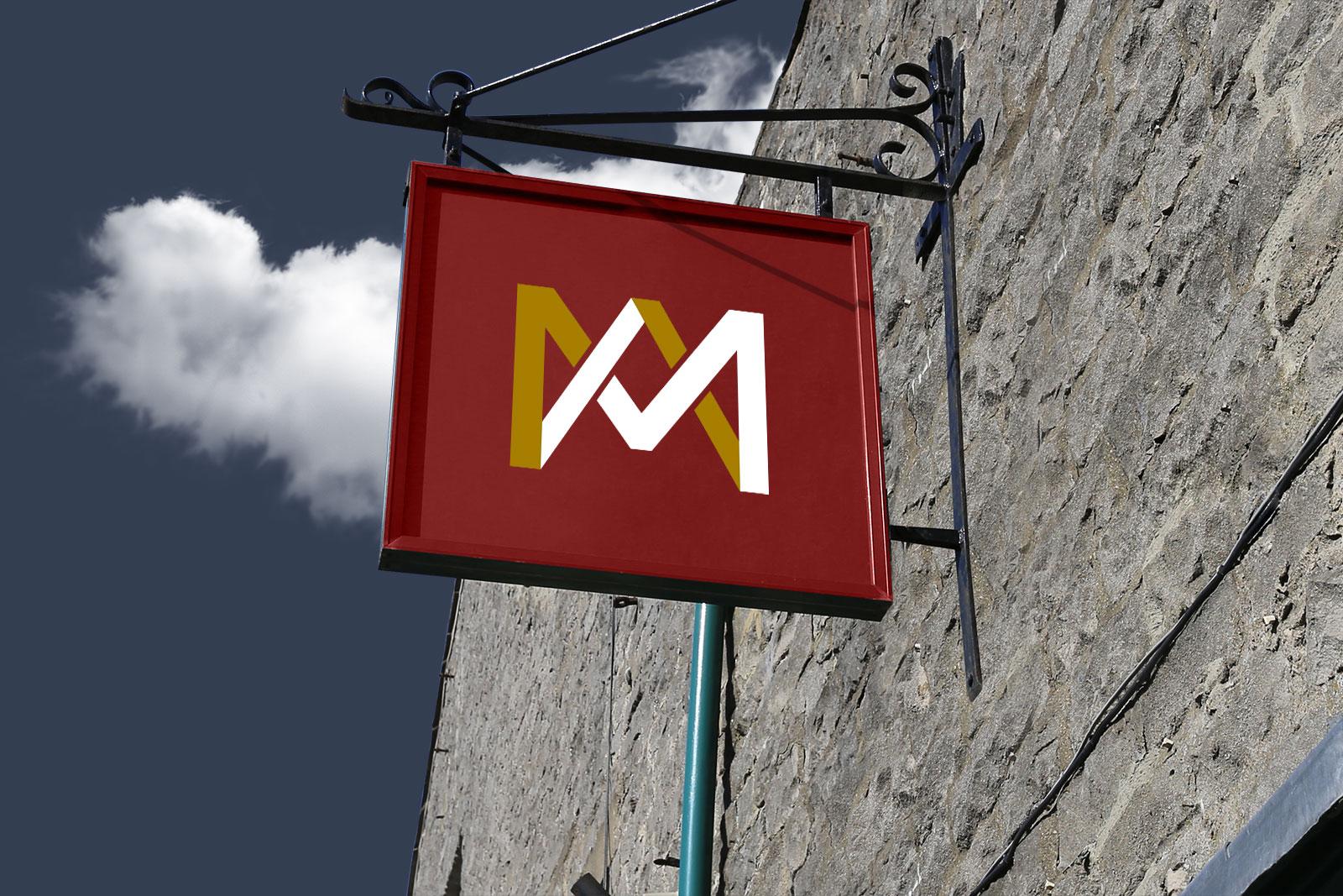 Free-Wall-Mounted-Shop-Sign-Board-Mockup-PSD-file