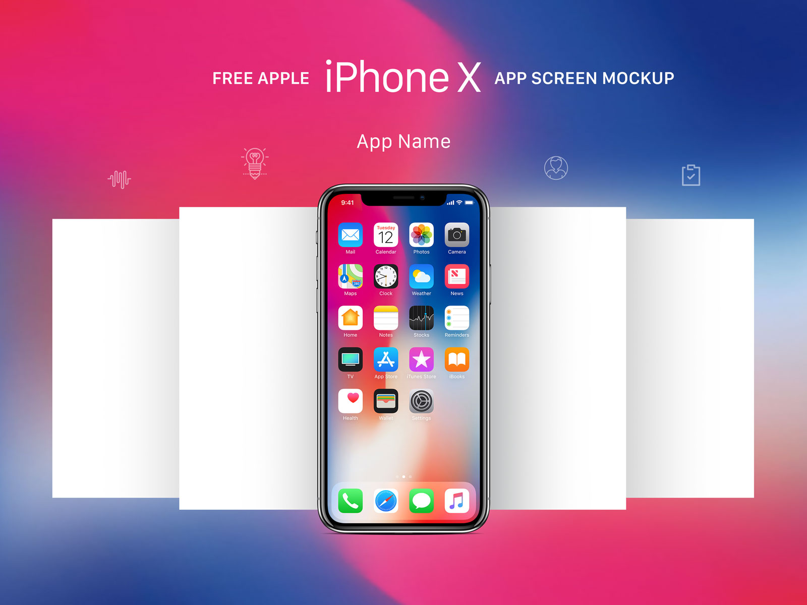 Free apple iphone x app screen mockup psd good mockups for Iphone picture apps free