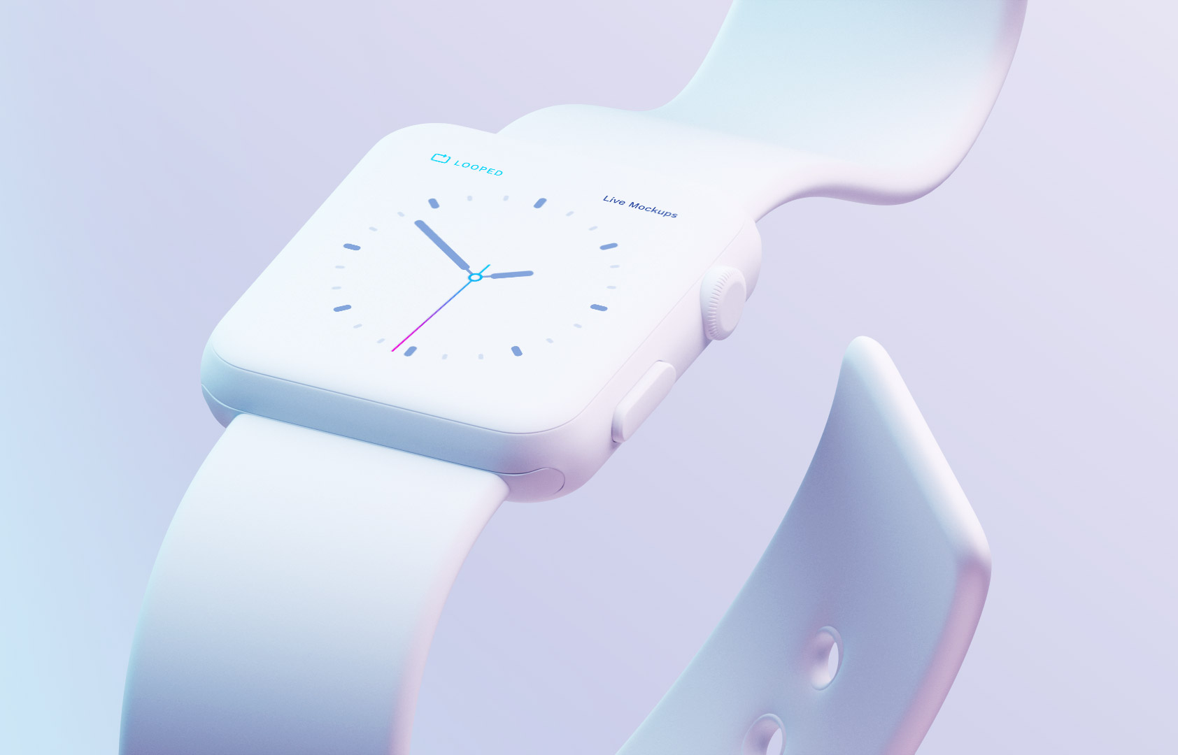 Free Clay Whte Apple Watch_ Mockup PSD