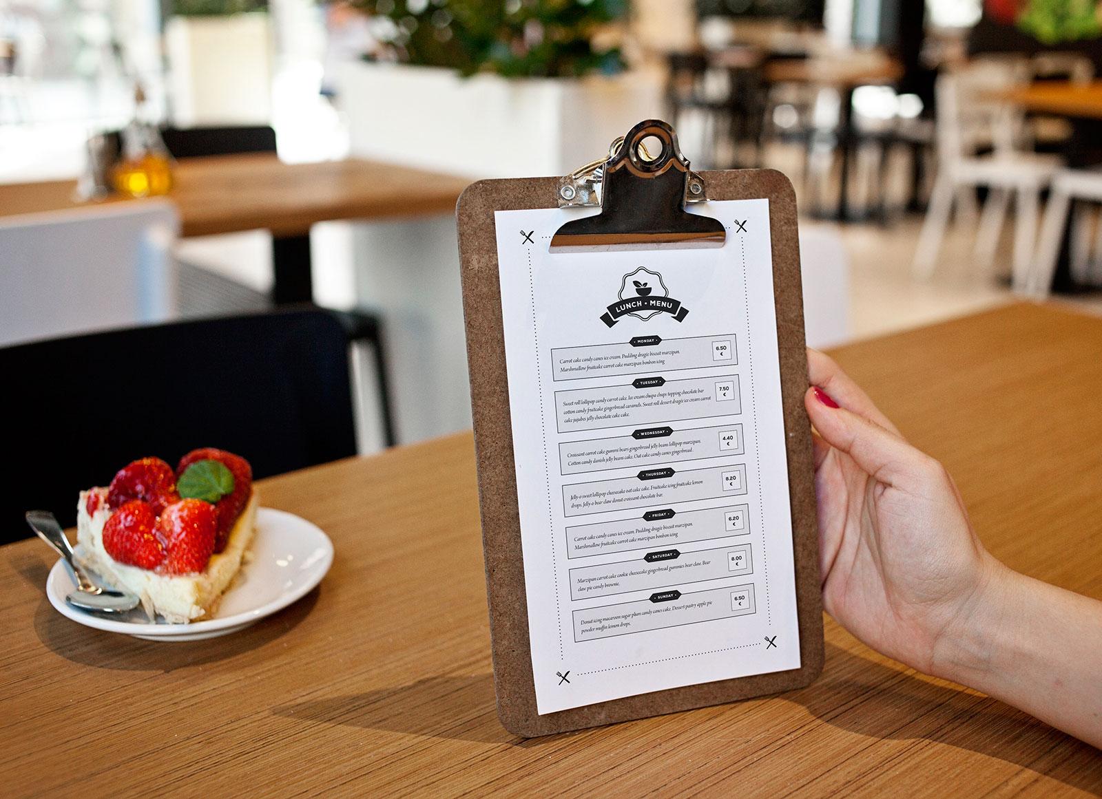 Free Hotel Restaurant Menu Flyer Mockup PSD
