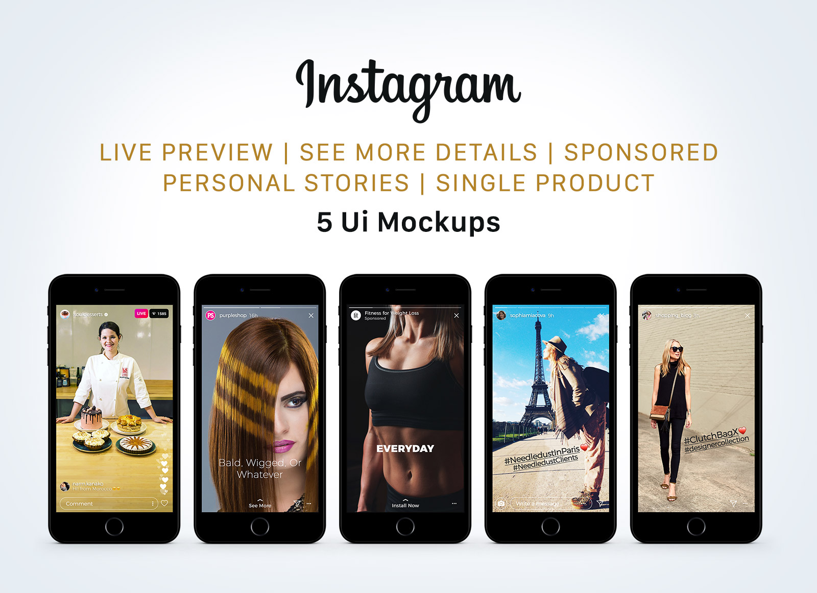 Free Instagram Sponsored, Live & Status Stories UI Mockup PSD - Good Mockups