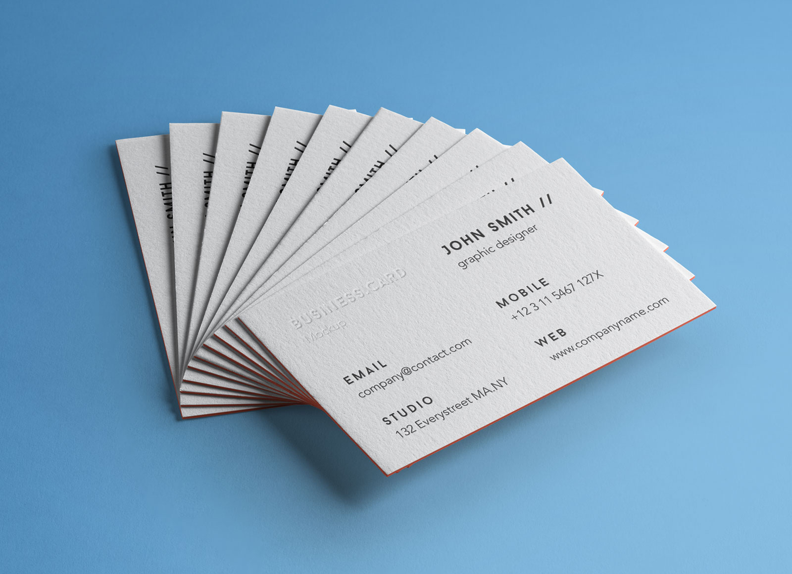 Free Letterpressed Business Card Mockup with Colored Edges - Good ...