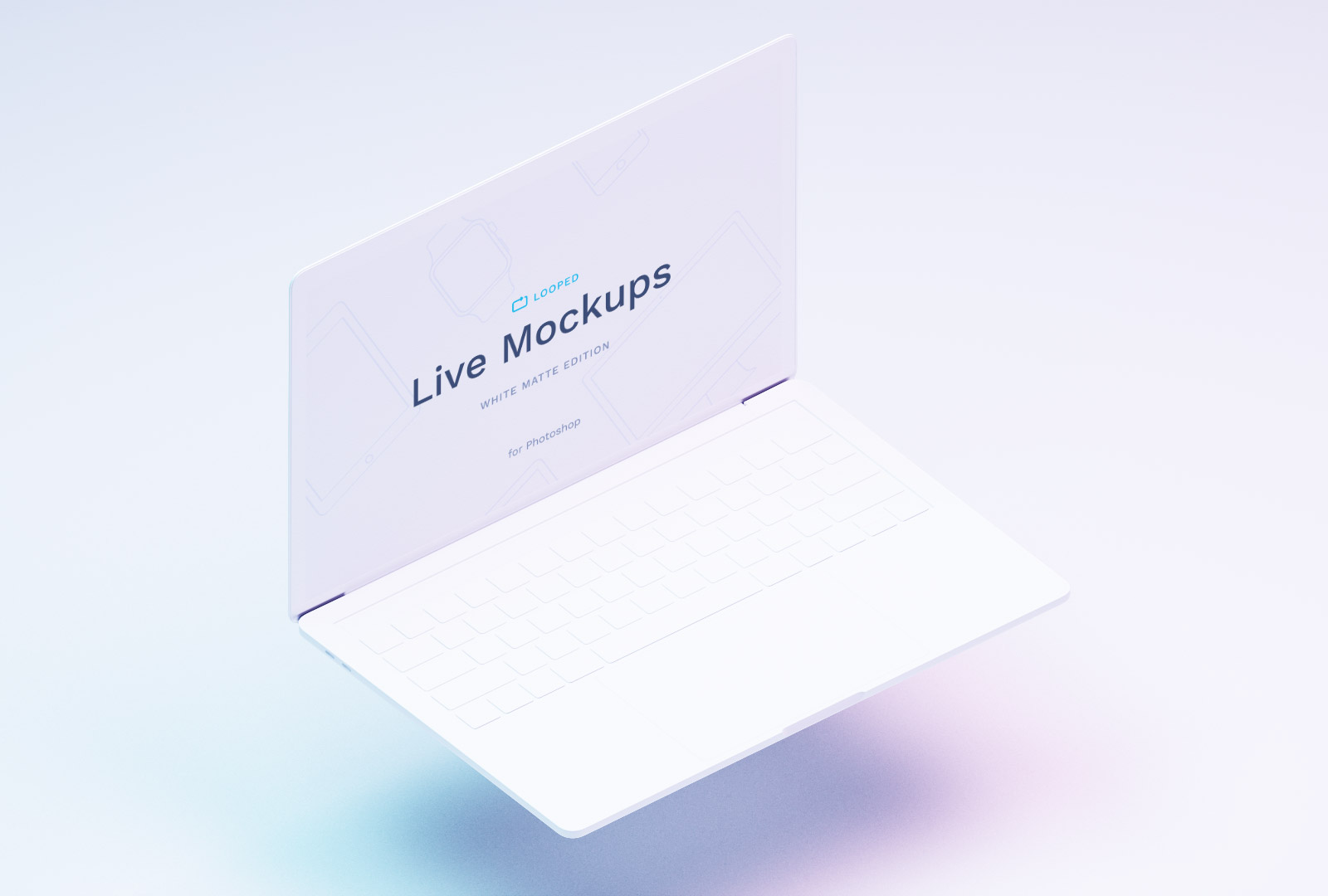 Free Macbook White Mockup PSD