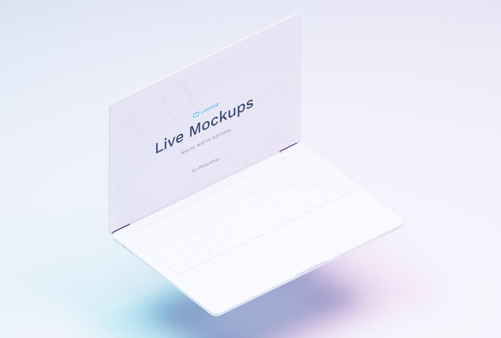 Free Macbook White Mockup PSD