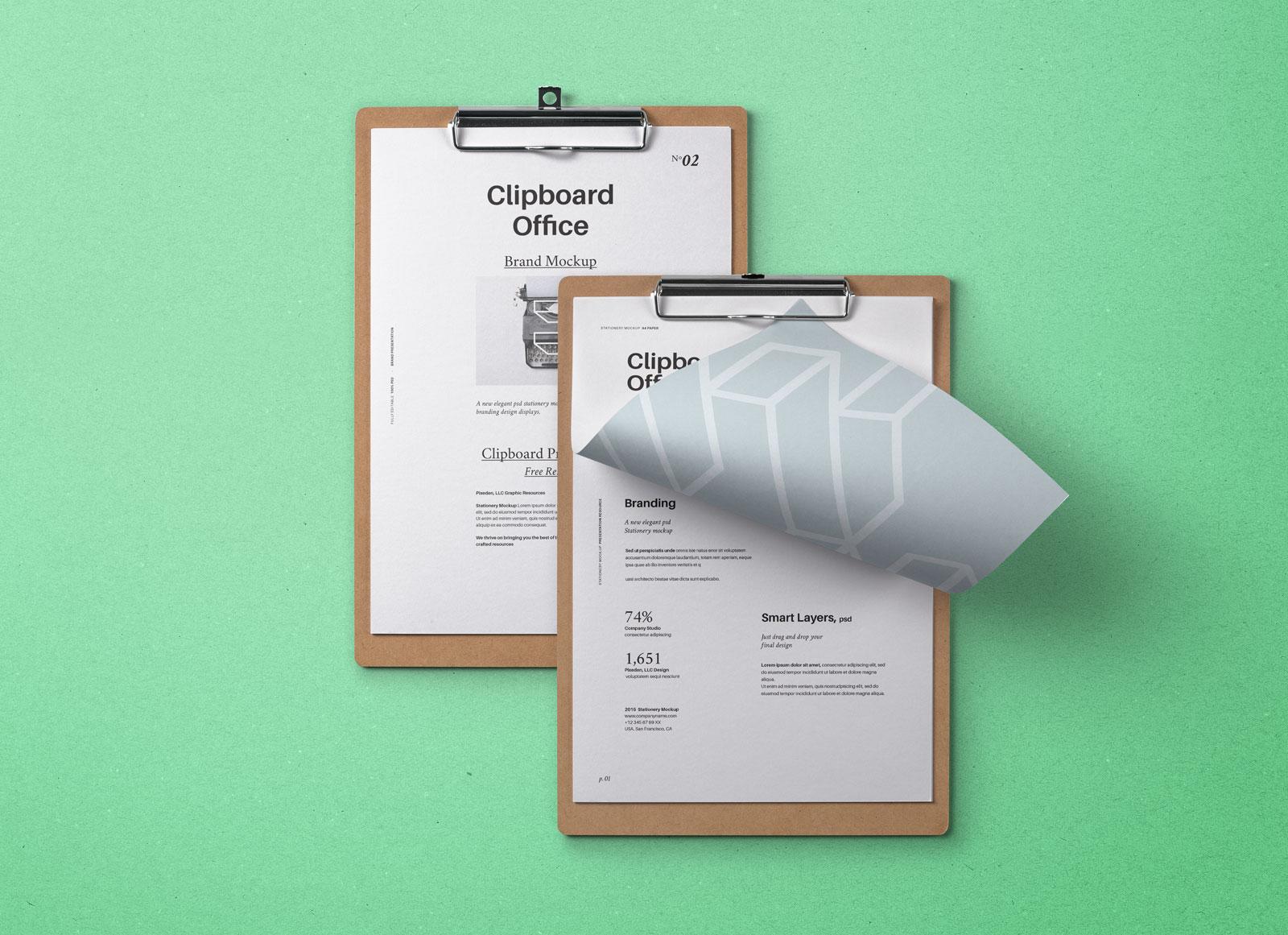 free paper clipboard a4 flyer mockup psd