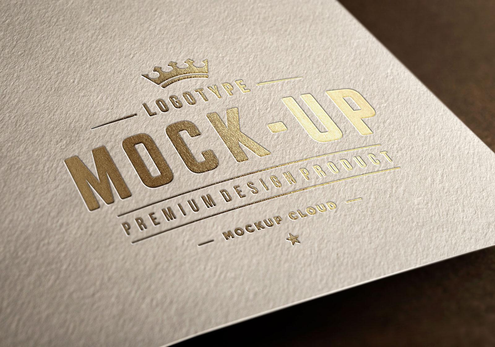 free premium gold foil logo mockup psd