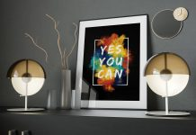 Free-Premium-Photo-Frame-on-Decorated-Shelf-Mockup-PSD