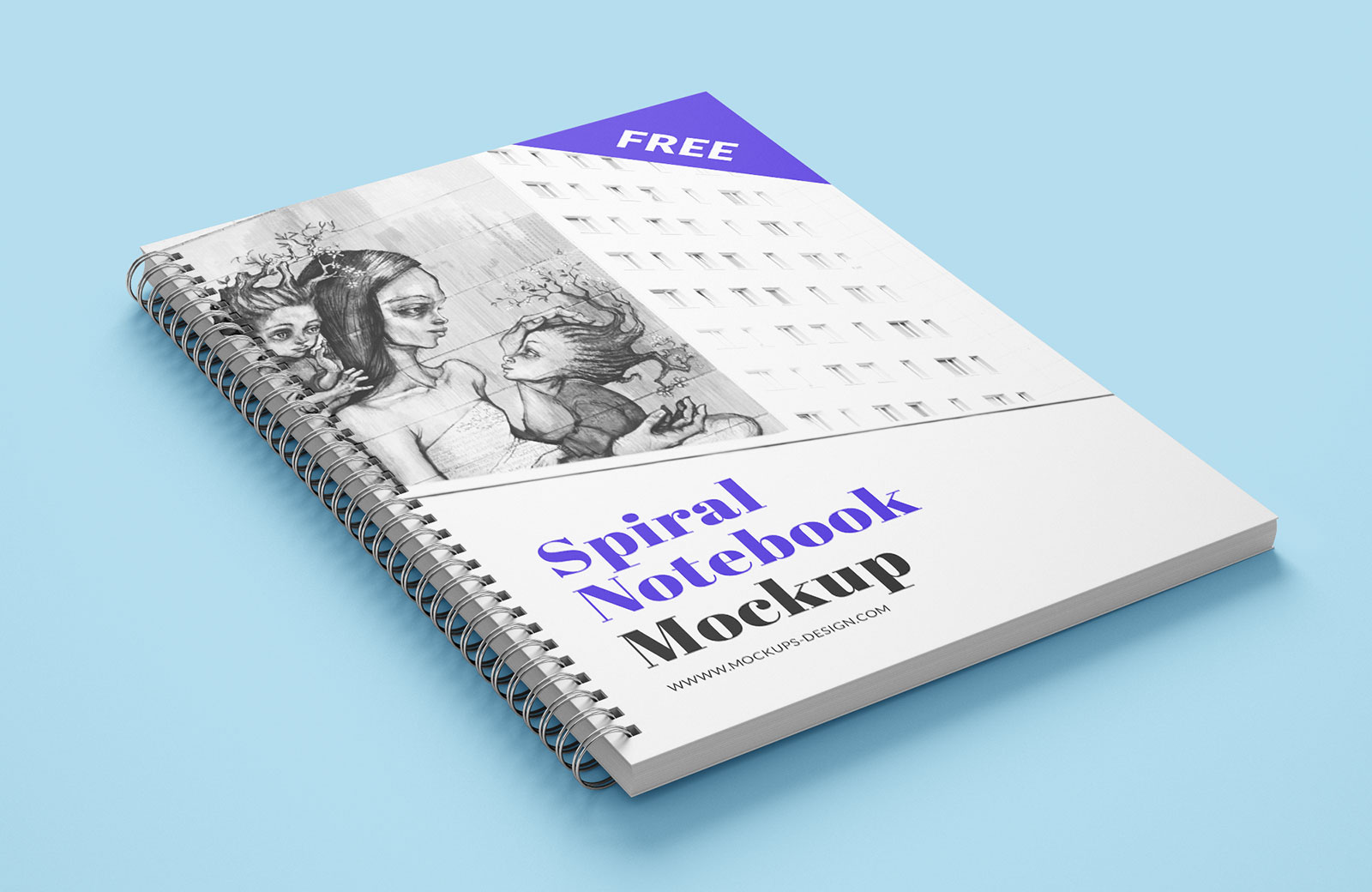 Free Spiral Notebook Mockup PSD (1)