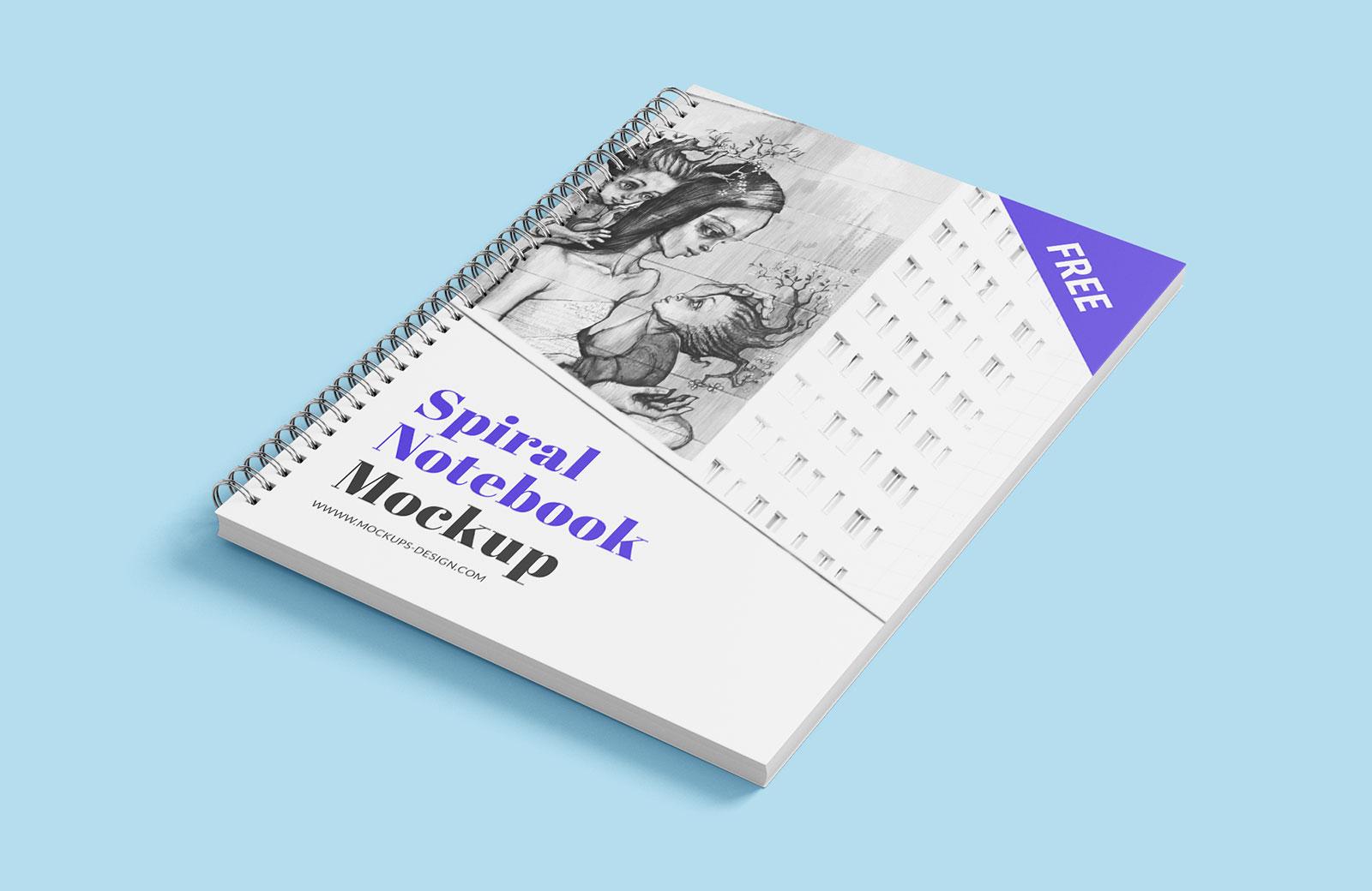Free Spiral Notebook Mockup PSD (3)