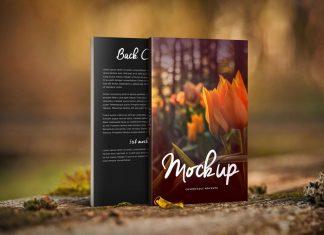 Free Standing Front & Backside Paperback Book Mockup PSD
