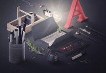 Free-Stationery-Perspective-Scene-Creator-PSD-Mockup