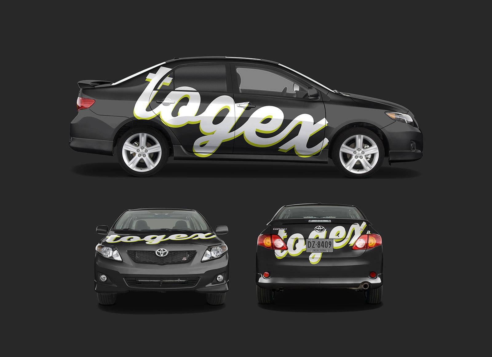 Free toyota corolla car branding mockup psd good mockups