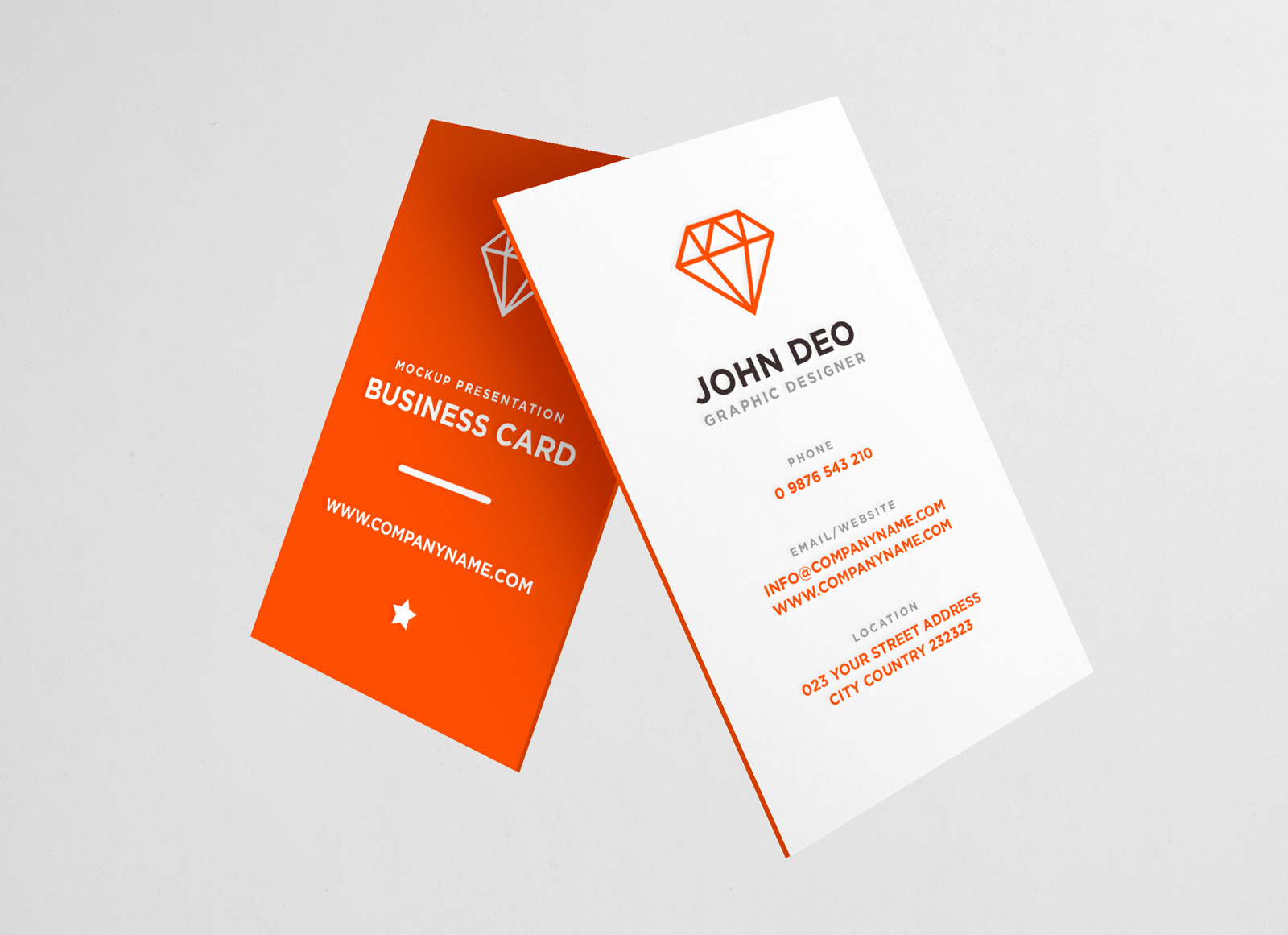 Free Vertical Business Card Mockup PSD - Good Mockups