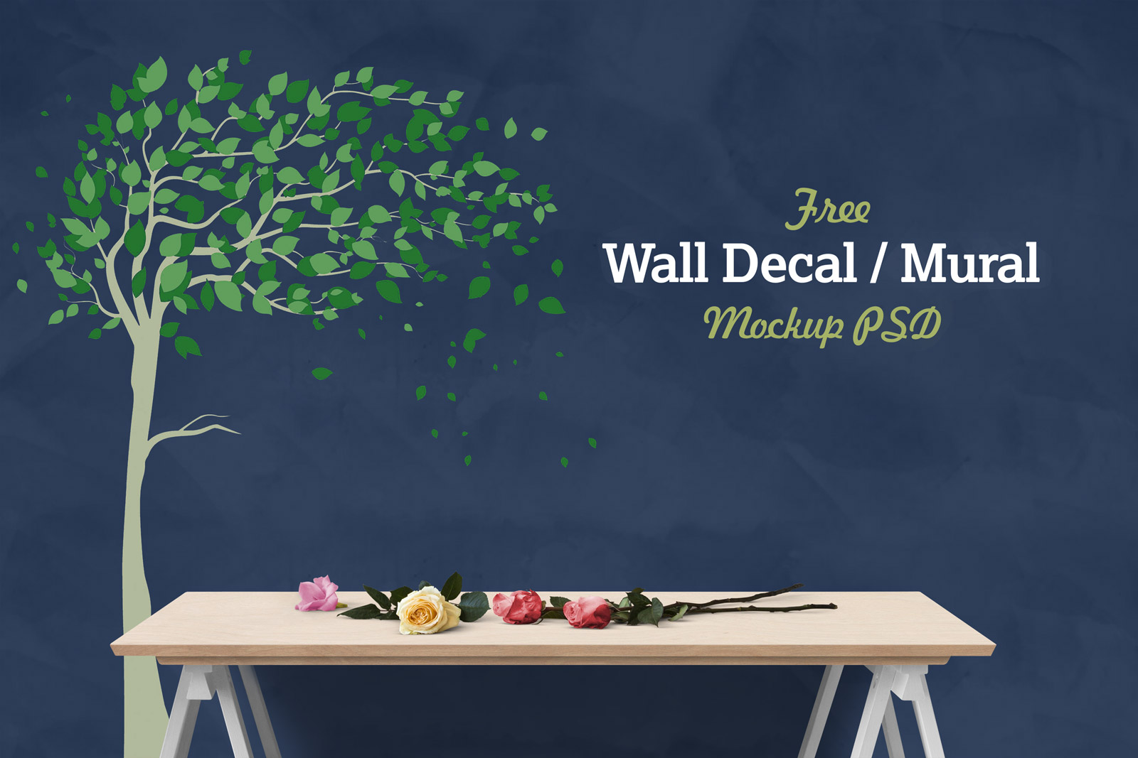 Free-Vinyl-Wall-Decal-Mural-Sticker-Art-Mockup-PSD-2