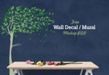Free-Vinyl-Wall-Decal-Mural-Sticker-Art-Mockup-PSD