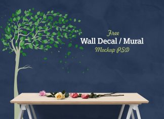 Free-Vinyl-Wall-Decal-Mural-Sticker-Art-Mockup-PSD