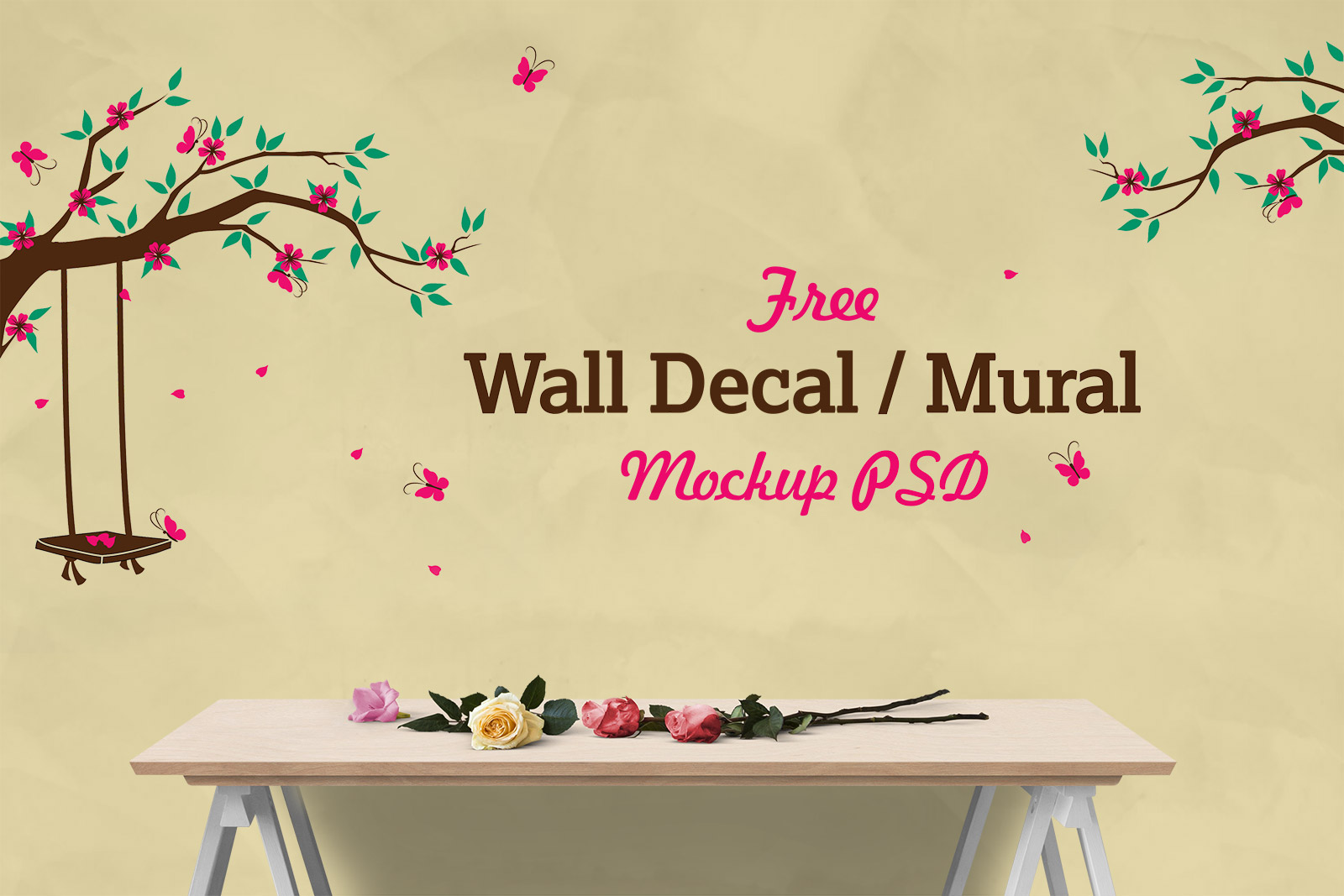 Free Vinyl Wall Decal / Mural Sticker Art Mockup PSD - Good Mockups
