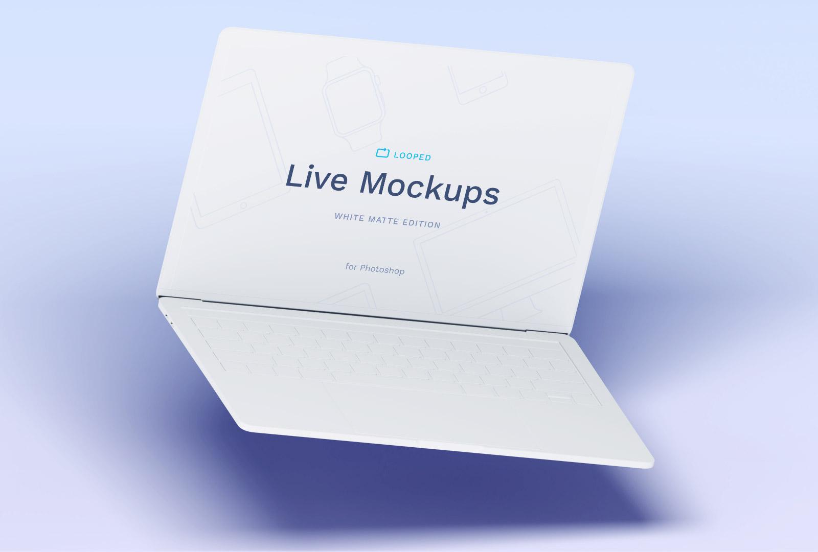 Free White Macbook Mockup PSD