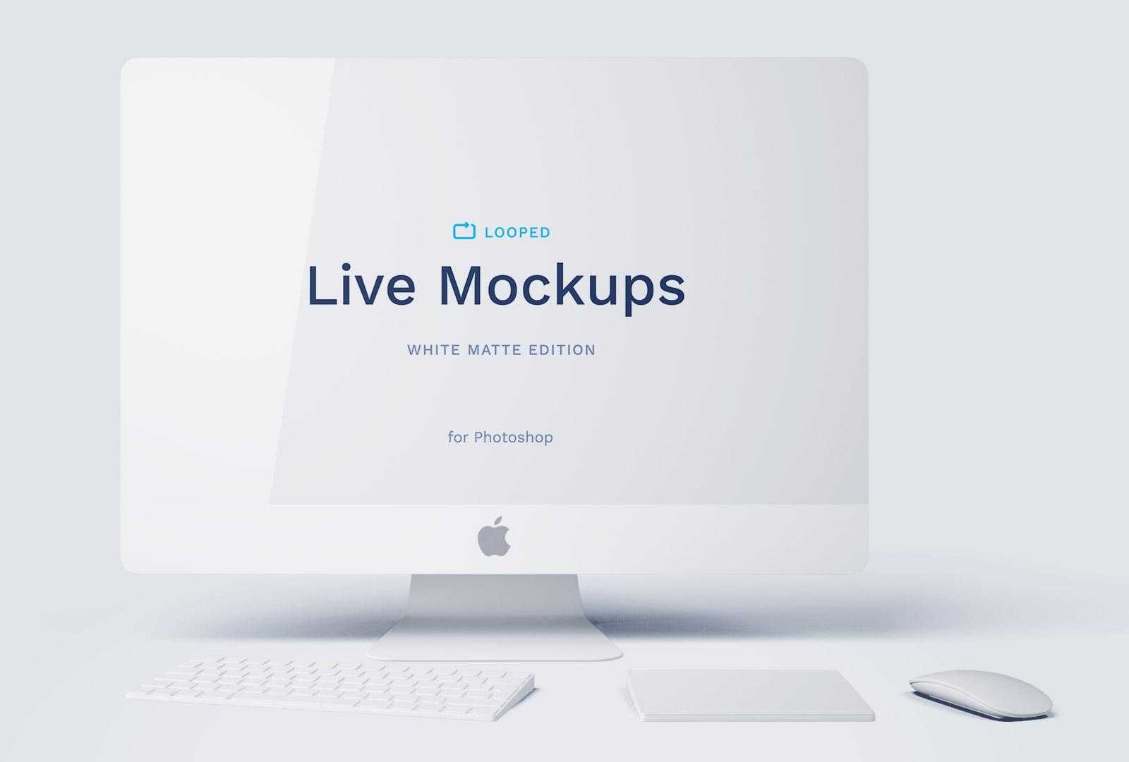 Free White iMac Mockup PSD