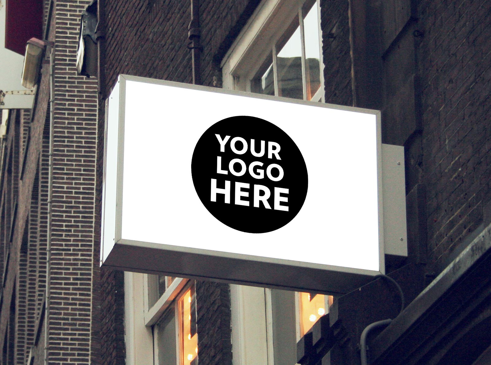 8 Free Wall Mounted Backlit Shop Sign Board Psd Mockups