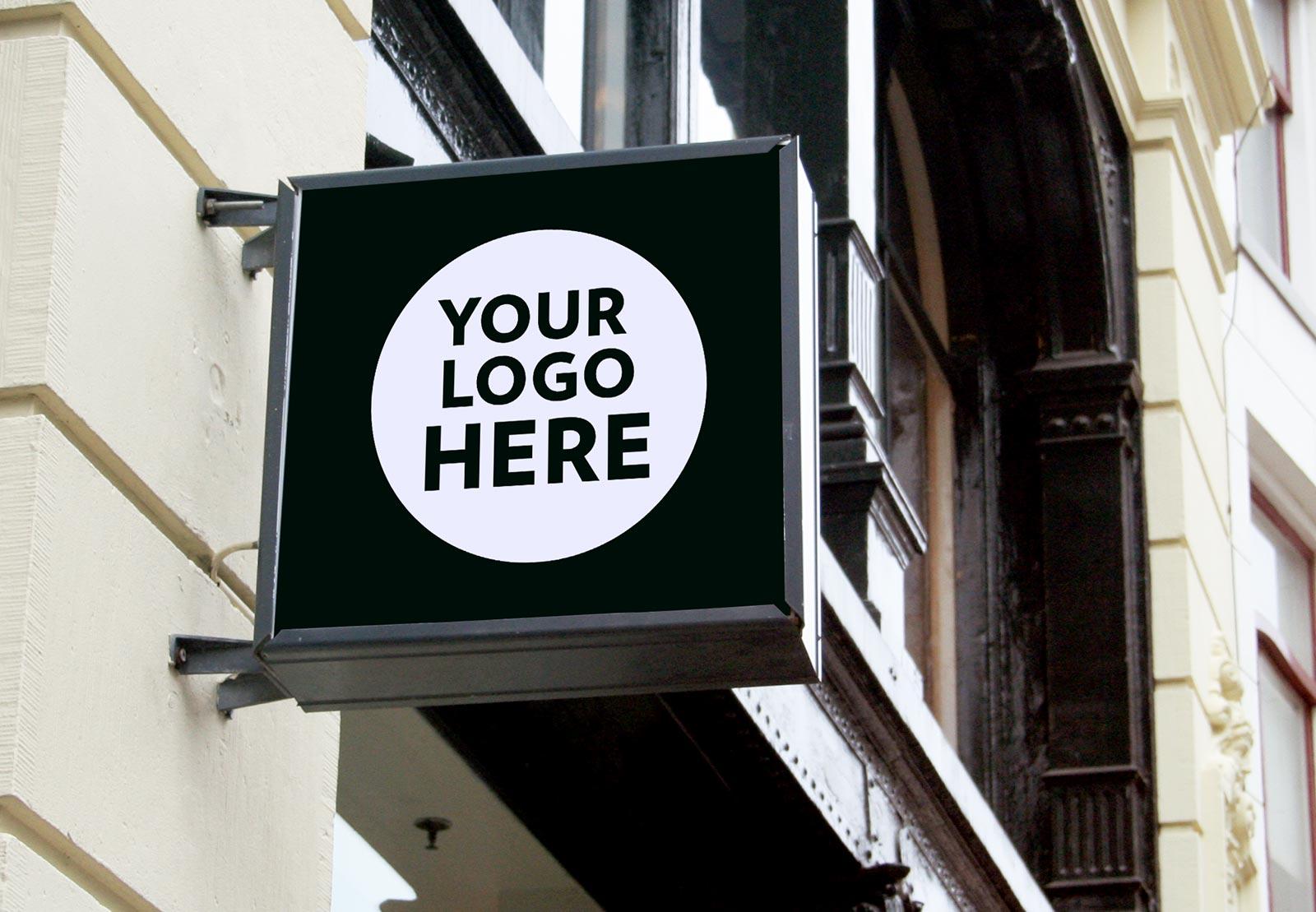 8 Free Wall Mounted Backlit Shop Sign Board Mockup