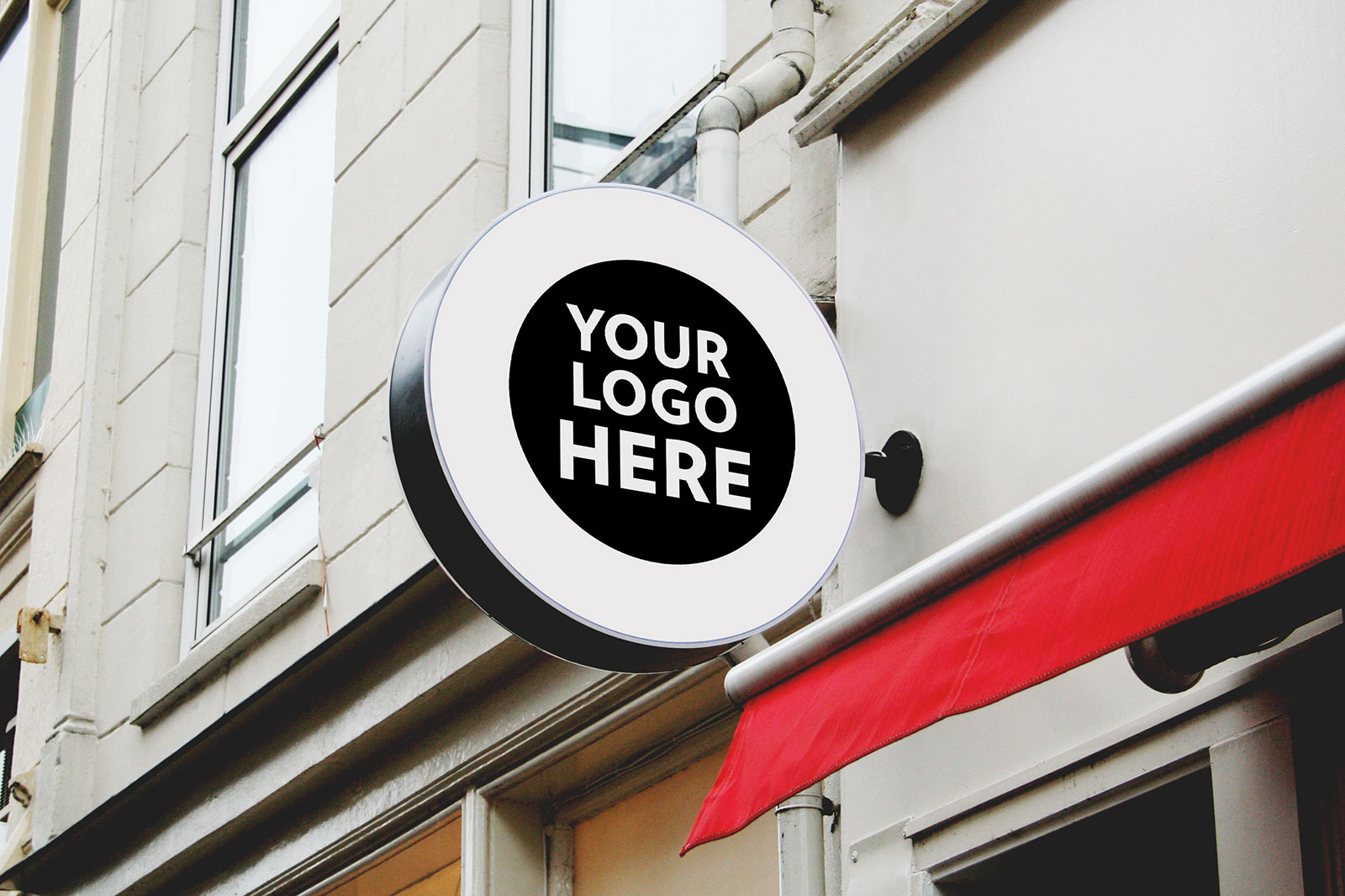 8 Free Wall Mounted Backlit Shop Sign Board Mockup