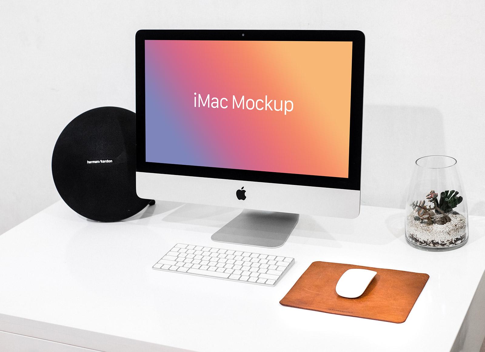 Free-Apple-iMac-Mockup-on-White-Desk