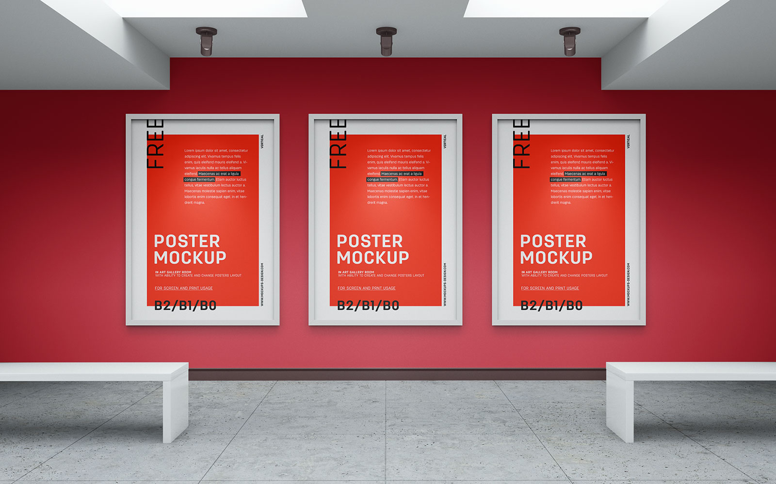 Free Art Gallery Wall Canvas / Poster Mockup PSD