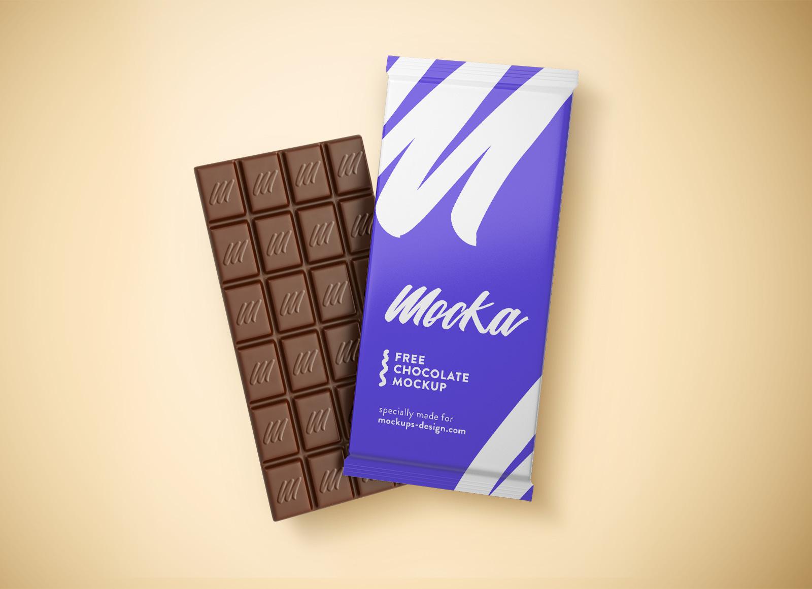 Free Chocolate Bar Packaging Mockup PSD