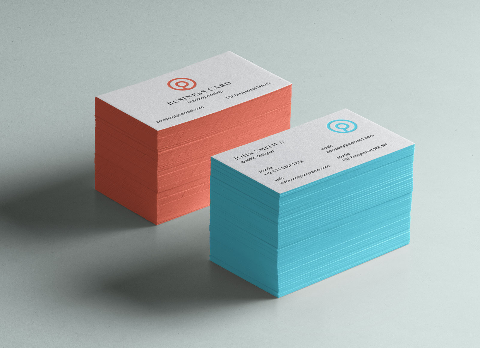 Free letterpressed business card with color edge mockup psd good free letterpressed business card mockup psd reheart