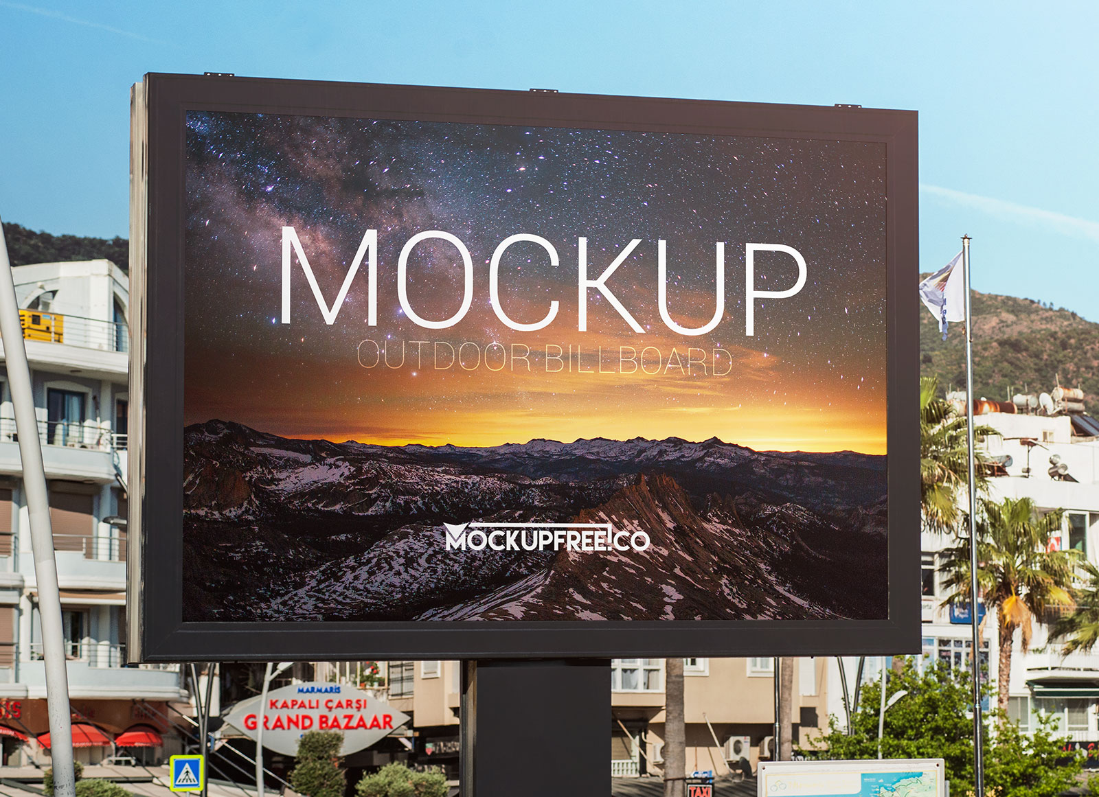 free outdoor advertising billboard mockup psd