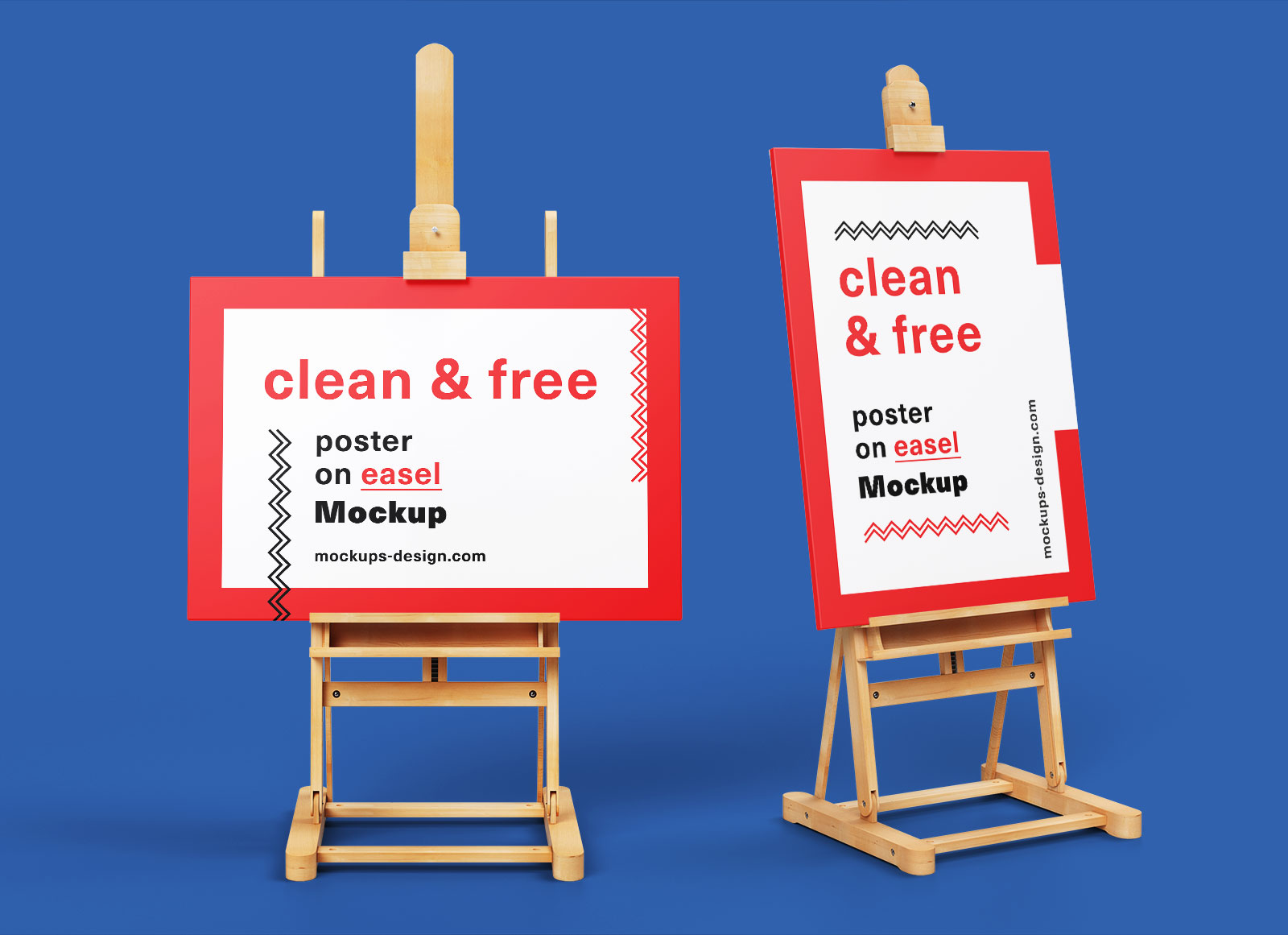 Free Paint Canvas Poster On Wooden Easel Stand Mockup