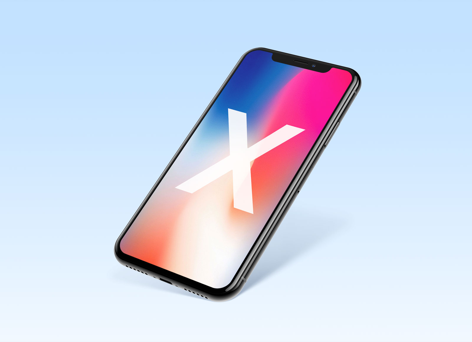 Free Perspective View of Apple iPhone X PSD & Sketch Mockup