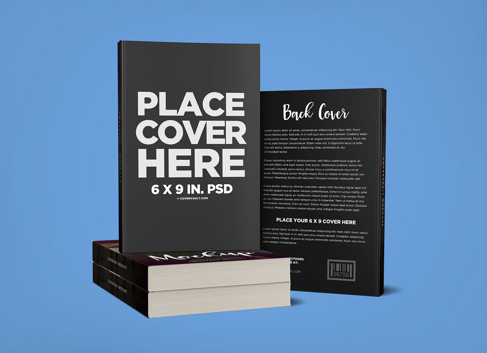 free stacked books with back cover mockup psd
