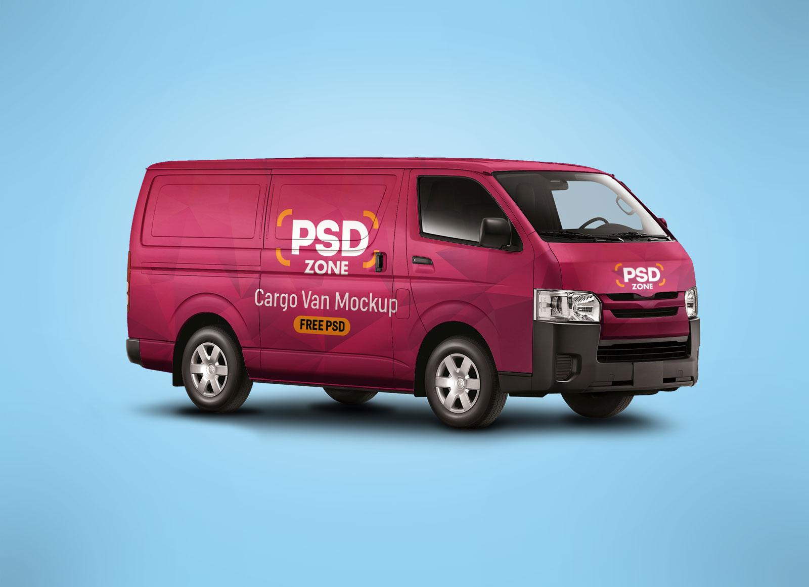Free cargo van vehicle branding mockup psd