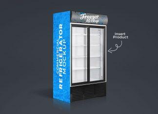 Free-Commercial-Refrigerator,-Cooler-Freezer-Mockup-PSD