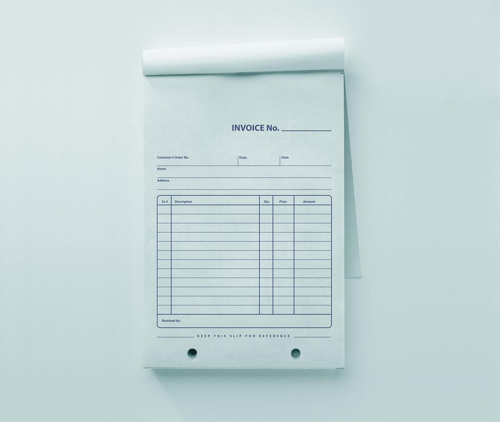 free company retail invoice bill pad mockup psd