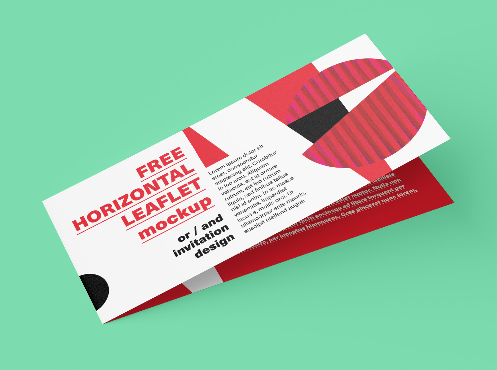 Free DL Size Center Fold Brochure Leaflet Mockup PSD Set