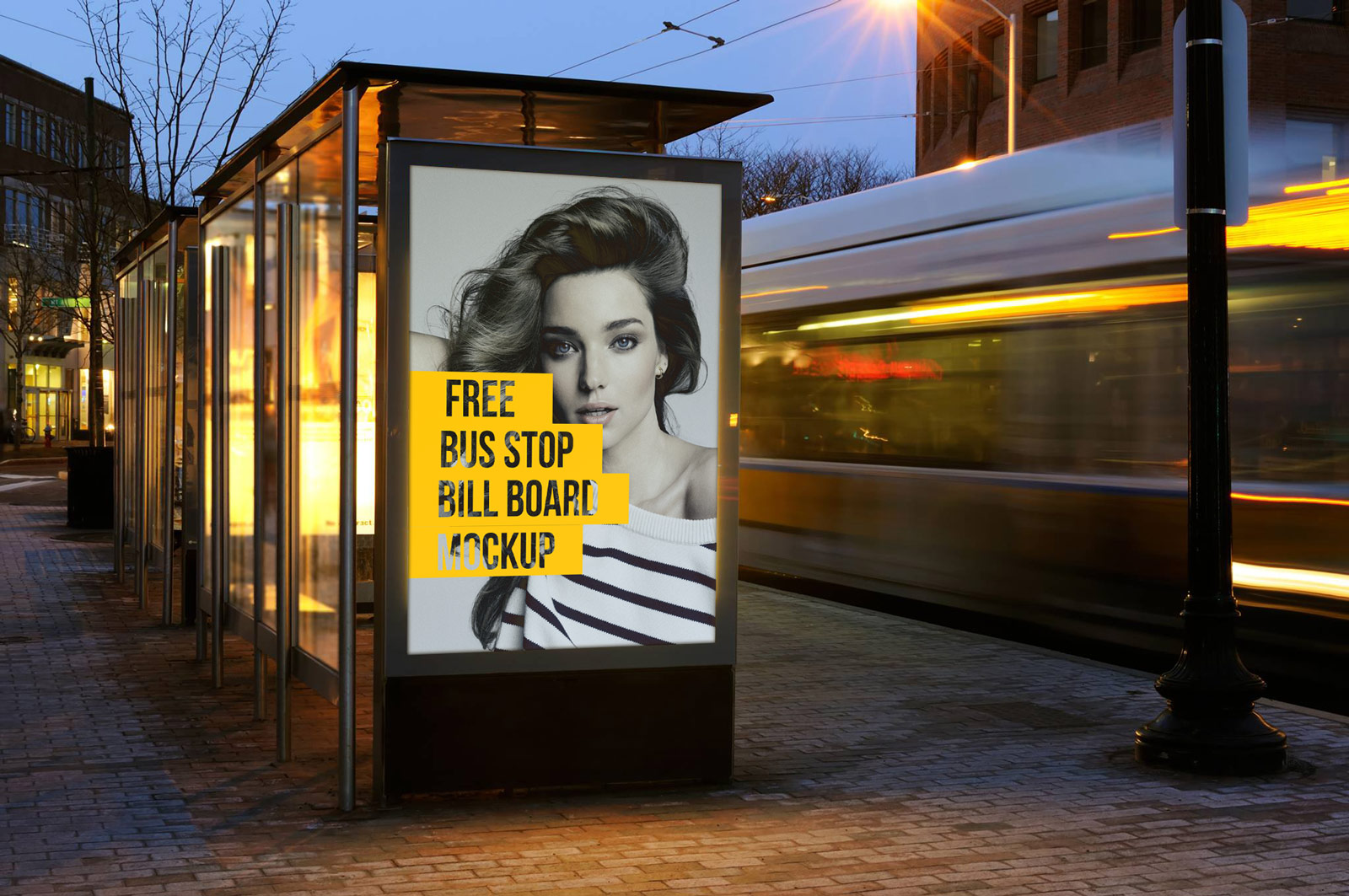 Free-Outdoor-Advertising-Bus-Stop-Billboard-Mockup-PSD-File