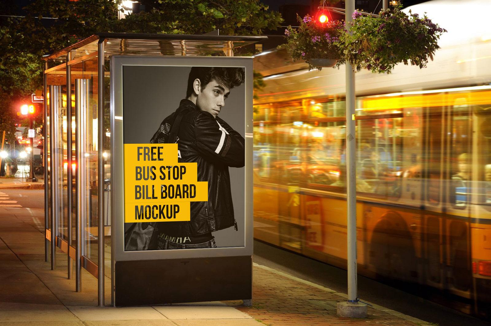 Free-Outdoor-Advertising-Bus-Stop-Billboard-Mockup-PSD