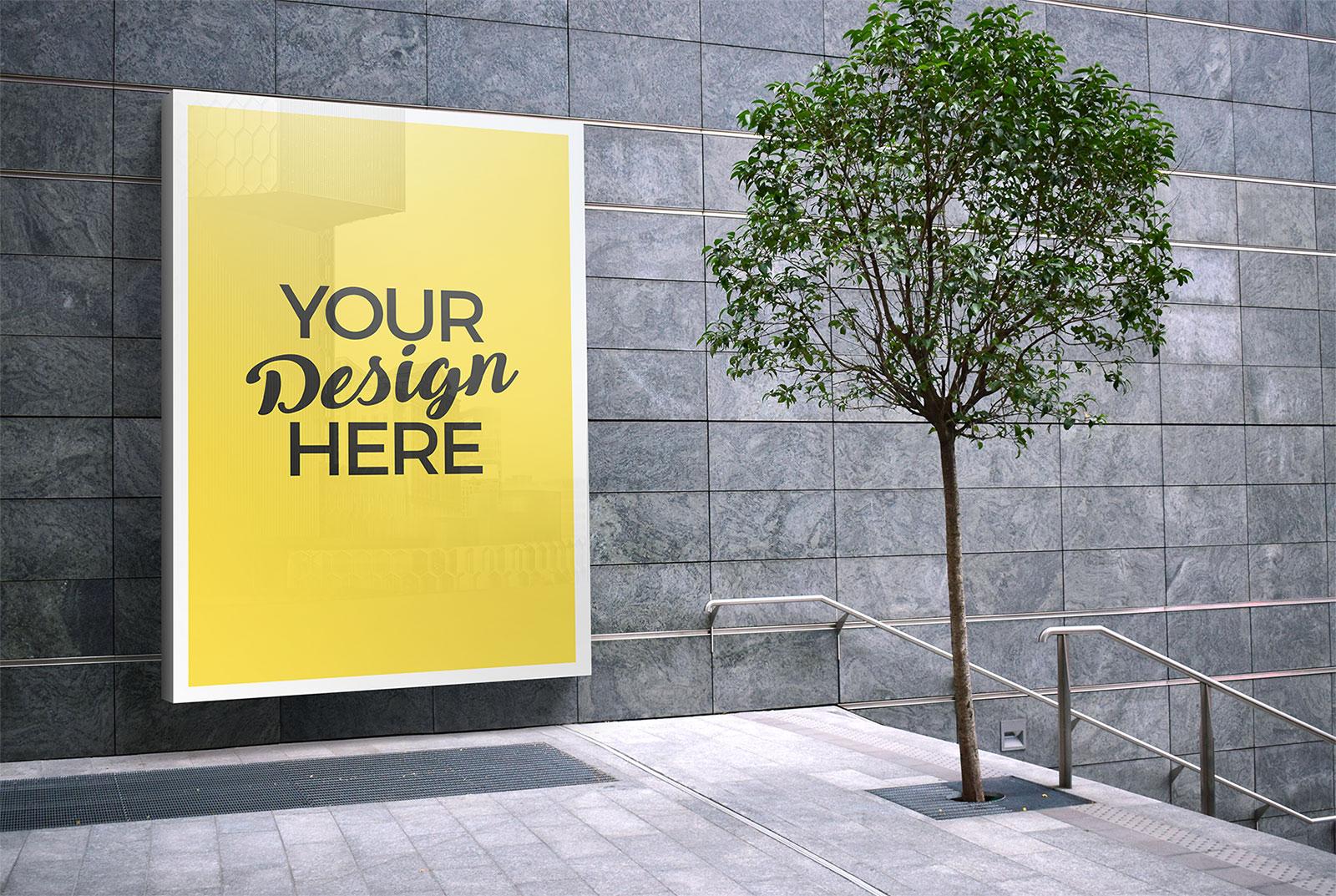 Free Outdoor Advertising Wall Mounted Billboard Mockup PSD ...