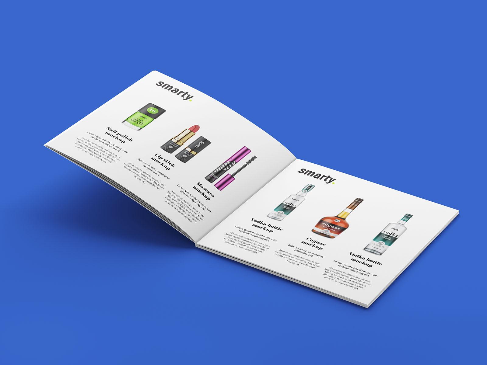 free square brochure mockup psd set