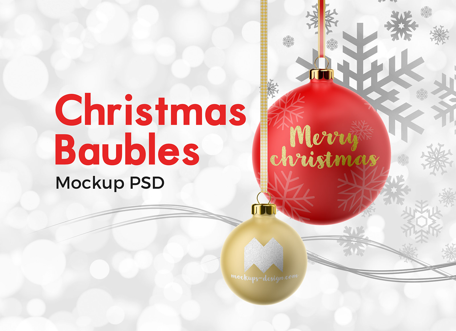 Free Hanging Christmas Baubles Mockup PSD