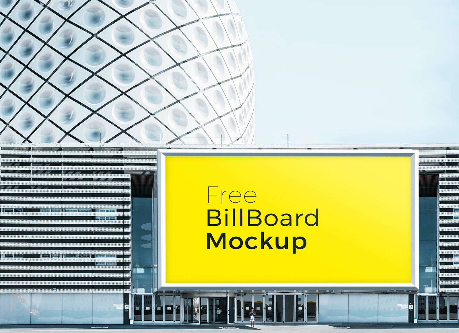 Free Outdoor Advertising Wall Mounted Billboard Mockup Set